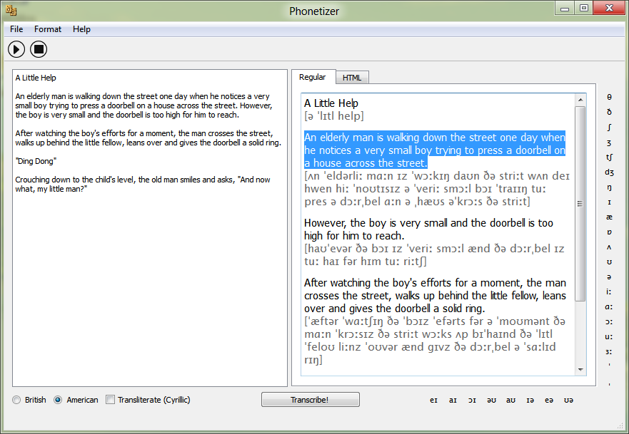 Screenshot of Phonetizer for Windows software for adding transcription to English texts